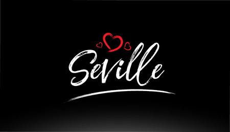 seville city hand written text with red heart suitable for logo or typography design Иллюстрация