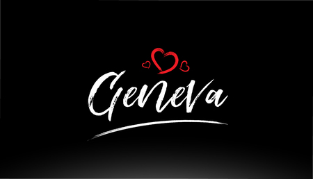 geneva city hand written text with red heart suitable for logo or typography design