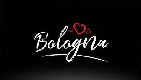 bologna city hand written text with red heart suitable for logo or typography design