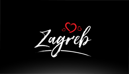 zagreb city hand written text with red heart suitable for logo or typography design 矢量图像