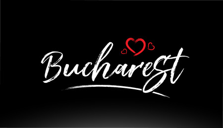 bucharest city hand written text with red heart suitable for logo or typography design