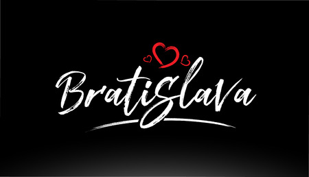 bratislava city hand written text with red heart suitable for logo or typography design