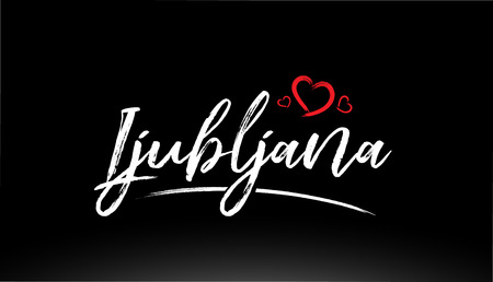 ljubljana city hand written text with red heart suitable for logo or typography design