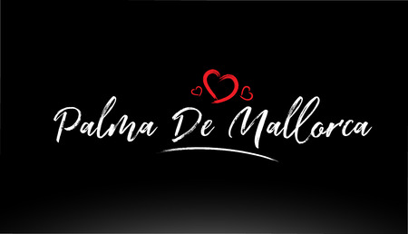 palma de mallorca city hand written text with red heart suitable for logo or typography design Ilustrace