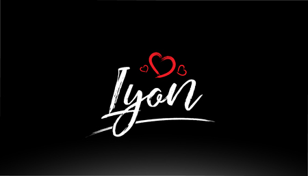 lyon city hand written text with red heart suitable for logo or typography design Illustration