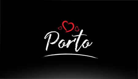 porto city hand written text with red heart suitable for logo or typography design