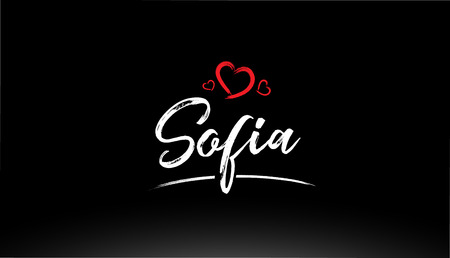 sofia city hand written text with red heart suitable for logo or typography design