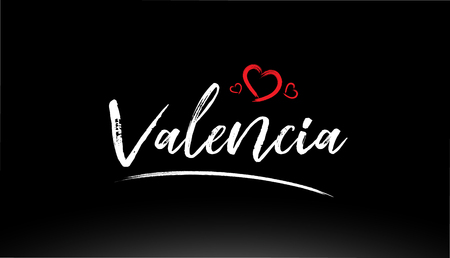 valencia city hand written text with red heart suitable for logo or typography design