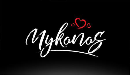mykonos city hand written text with red heart suitable for logo or typography design
