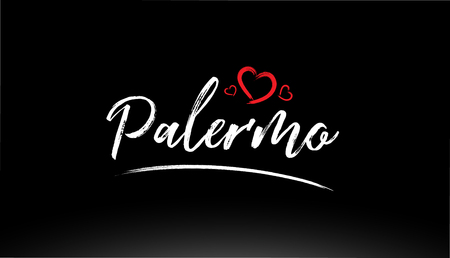 palermo city hand written text with red heart suitable for logo or typography design