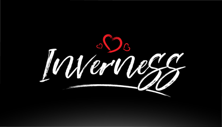 inverness city hand written text with red heart suitable for logo or typography design