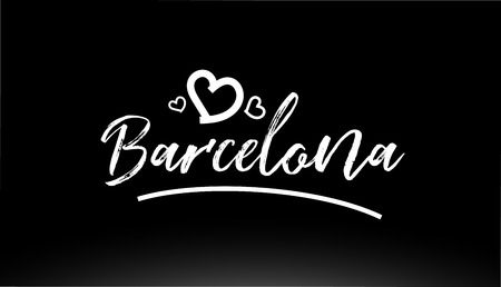 barcelona black and white city hand written text with heart for logo or typography design