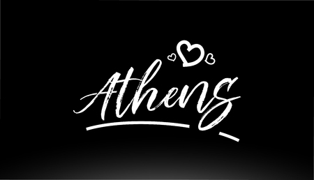 athens black and white city hand written text with heart for logo or typography design
