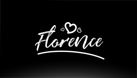 florence black and white city hand written text with heart for logo or typography design 矢量图像