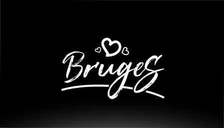 bruges black and white city hand written text with heart for logo or typography design