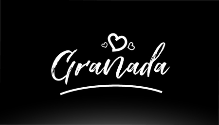 granada black and white city hand written text with heart for logo or typography design  イラスト・ベクター素材