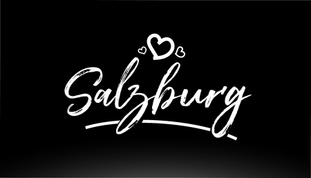 Salzburg black and white city hand written text with heart for logo or typography design Illustration