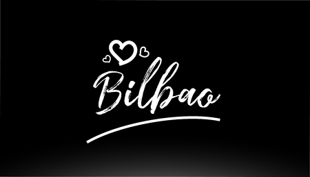 bilbao black and white city hand written text with heart for logo or typography design