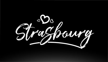 strasbourg black and white city hand written text with heart for logo or typography design