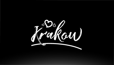 krakow black and white city hand written text with heart for logo or typography design