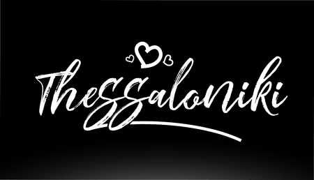 thessaloniki black and white city hand written text with heart for logo or typography design