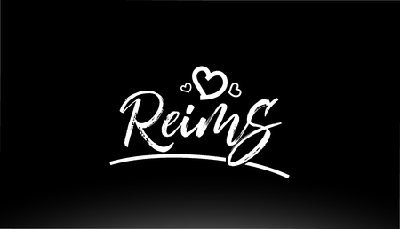 reims black and white city hand written text with heart for logo or typography design