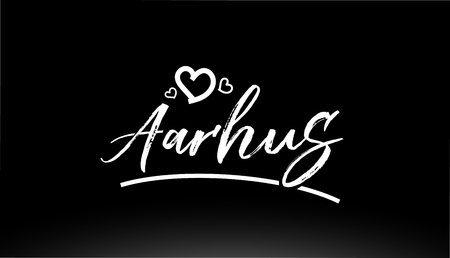 aarhus black and white city hand written text with heart for logo or typography design Illustration
