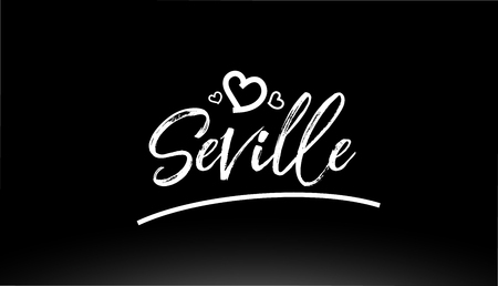 seville black and white city hand written text with heart for logo or typography design