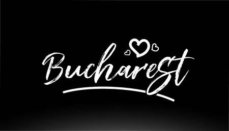 bucharest black and white city hand written text with heart for logo or typography design