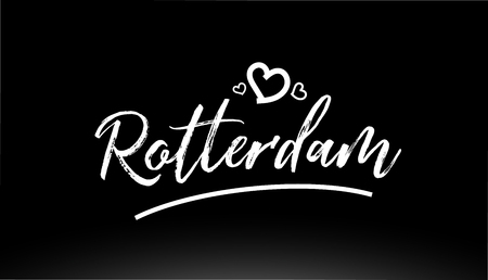 rotterdam black and white city hand written text with heart for logo or typography design Illustration