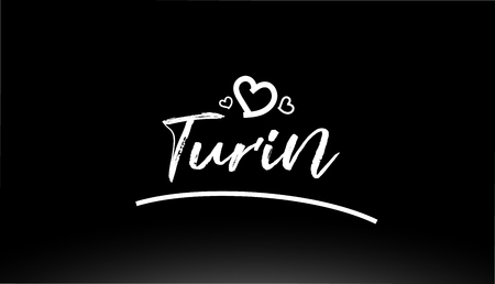 turin black and white city hand written text with heart for logo or typography design