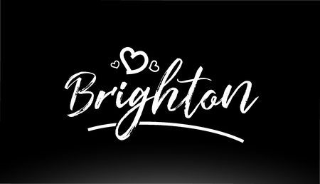 brighton black and white city hand written text with heart for logo or typography design