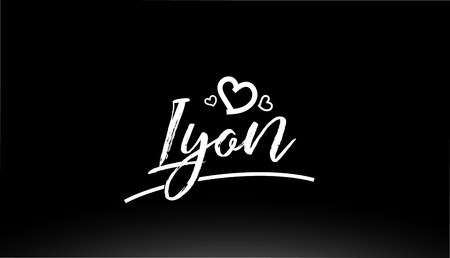 lyon black and white city hand written text with heart for logo or typography design