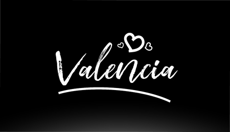 valencia black and white city hand written text with heart for logo or typography design