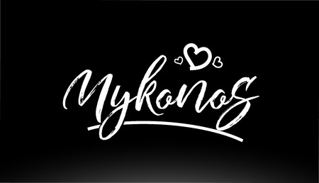 mykonos black and white city hand written text with heart for logo or typography design
