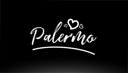 palermo black and white city hand written text with heart for logo or typography design Illustration