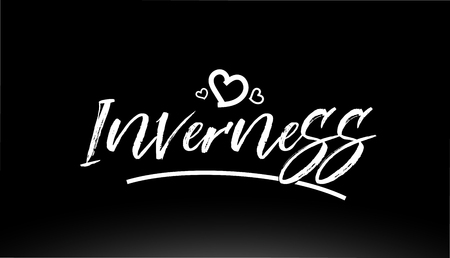 inverness black and white city hand written text with heart for logo or typography design Illustration