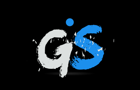 Grunge blue white alphabet letter combination GS G S on black background suitable as a logo for a company or business