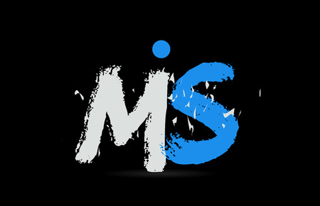 Grunge blue white alphabet letter combination MS M S on black background suitable as a logo for a company or business Illustration
