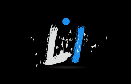 Grunge blue white alphabet letter combination LI L I on black background suitable as a logo for a company or business