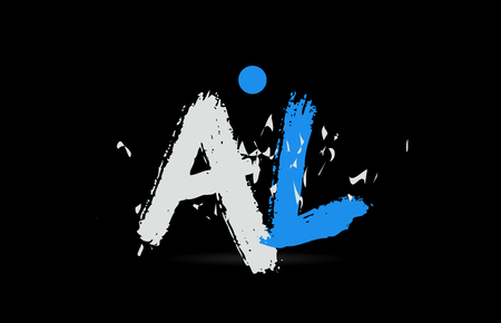 Grunge blue white alphabet letter combination AL A L on black background suitable as a logo for a company or business