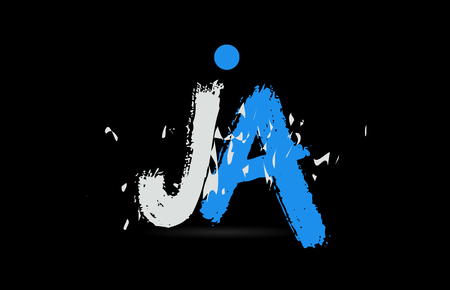 Grunge blue white alphabet letter combination JA J A on black background suitable as a logo for a company or business