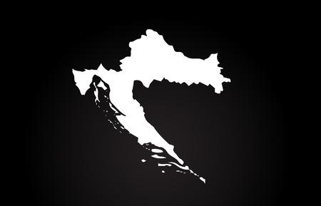 Croatia black and white country border map logo design. Black background