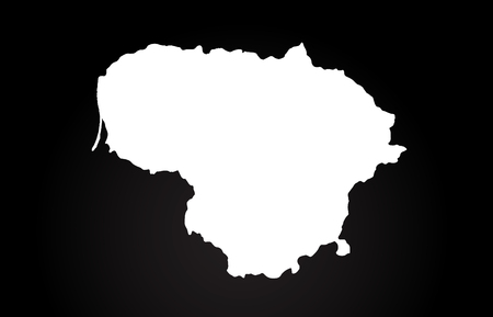 Lithuania black and white country border map logo design. Black background Ilustração