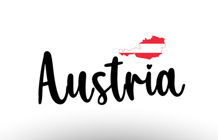 Austria country big text with flag inside map suitable for a logo icon design