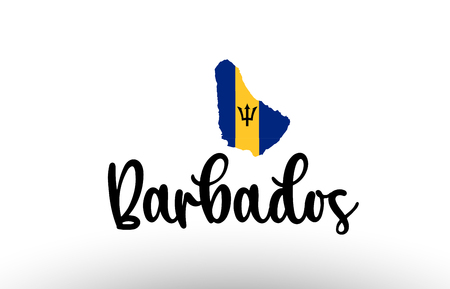 Barbados country big text with flag inside map suitable for a logo icon design Illustration