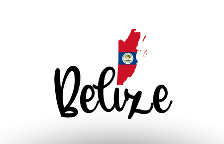 Belize country big text with flag inside map suitable for a logo icon design