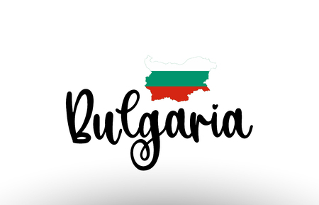 Bulgaria country big text with flag inside map suitable for a logo icon design