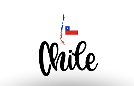 Chile country big text with flag inside map suitable for a logo icon design Illustration