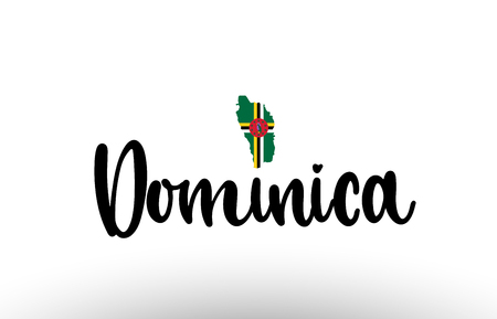 Dominica country big text with flag inside map suitable for a logo icon design